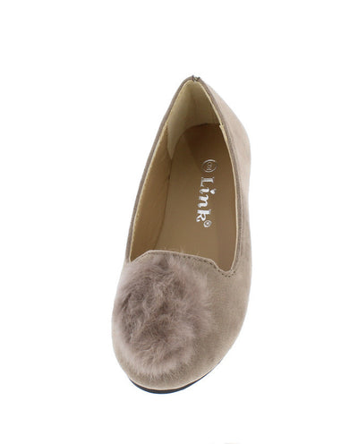 Diana14k Taupe Fuzzy Pom Pom Loafer Kids Flat - Wholesale Fashion Shoes