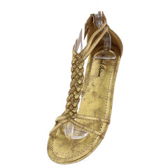 DYLAN1 YELLOW GOLD METALLIC WOMEN'S SANDAL - Wholesale Fashion Shoes