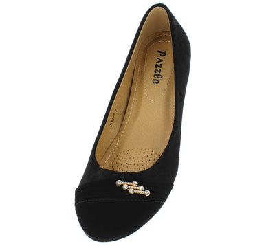 Dina5 Black Lamy Gold Rhinestone Round Toe Flat - Wholesale Fashion Shoes