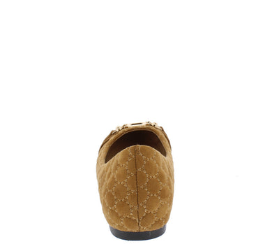 Dion1 Camel Embellished Circle Quilted Ballet Flat - Wholesale Fashion Shoes