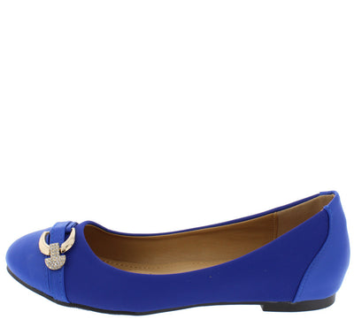 Dion3 Blue Gold Rhinestone Almond Toe Flat - Wholesale Fashion Shoes