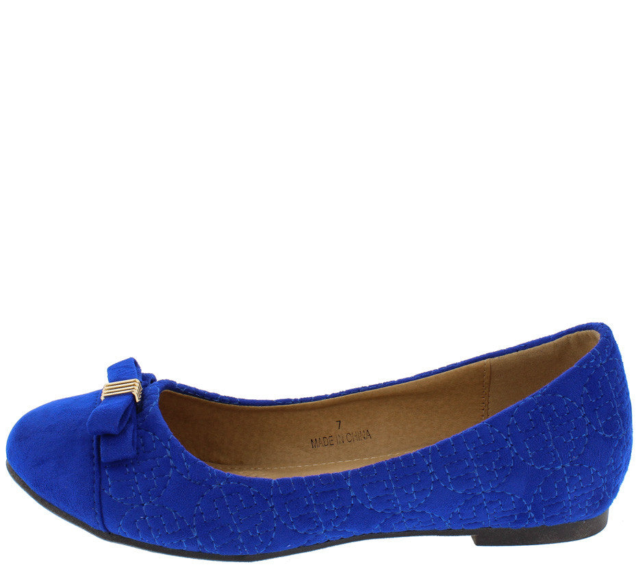 Dion5 Royal Blue Quilted Gold Bow Ballet Flat - Wholesale Fashion Shoes 39b51ea12b