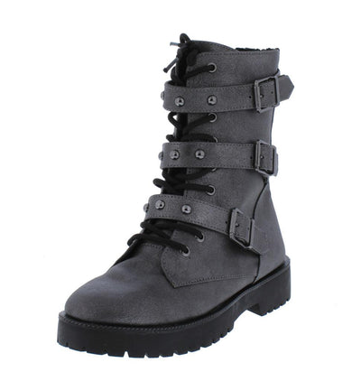 Direct09m Pewter Tri Buckle Lace Up Combat Boot - Wholesale Fashion Shoes