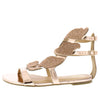Divine Rose Gold Open Toe Sparkle Leaf Caged Sandal - Wholesale Fashion Shoes