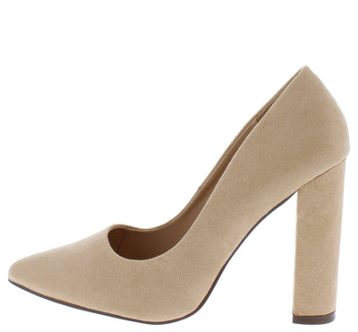 Crystal160 Nude Pointed Toe Pump Block Heel - Wholesale Fashion Shoes