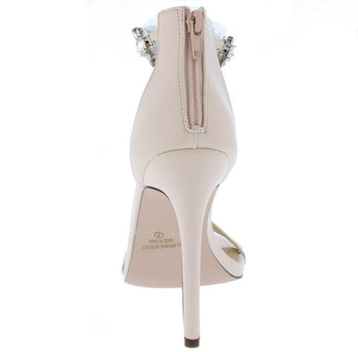 Luna010 Nude Open Toe Lucite Rhinestone Ankle Strap Heel - Wholesale Fashion Shoes