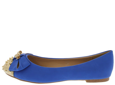 Doll Blue Studded Toe Bow Ballet Flat - Wholesale Fashion Shoes