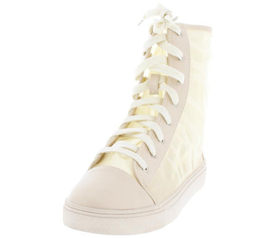 Dolly31 Nude Tulle Panel Capped Toe High Top Boot - Wholesale Fashion Shoes