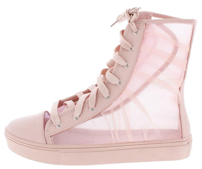 Dolly31 Mauve Tulle Panel Capped Toe High Top Boot - Wholesale Fashion Shoes