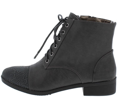 Kaylee158 Charcoal Distressed Lace Up Chunky Heel Boot - Wholesale Fashion Shoes