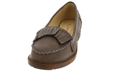Dopey1 Grey Pu Fringe Loafer Flat - Wholesale Fashion Shoes