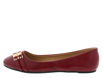 Dora5 Wine Double Buckle Flat - Wholesale Fashion Shoes