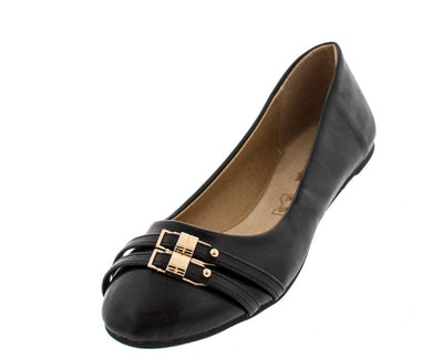 Dora5 Black Double Buckle Flat - Wholesale Fashion Shoes