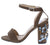 Tammy027 Taupe Open Toe Ankle Strap Jeweled Block Heel