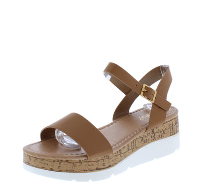 Double10 Tan Open Toe Ankle Strap Cork lug Wedge - Wholesale Fashion Shoes