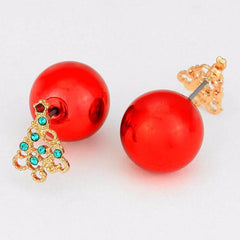 DOUBLE SIDED RED ORNAMENT BALL & CRYSTAL CHRISTMAS TREE STUD EARRINGS - Wholesale Fashion Shoes