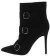 Doutzen Black Multi Buckle Stiletto Ankle Boot - Wholesale Fashion Shoes