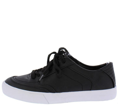 Doverg Black Rubber Sole Flat Form Sneaker Flat - Wholesale Fashion Shoes
