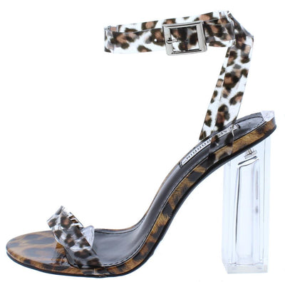 Drama Leopard Open Toe Cross Ankle Strap Lucite Block Heel - Wholesale Fashion Shoes