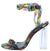 Drama Snake Open Toe Cross Ankle Strap Lucite Block Heel