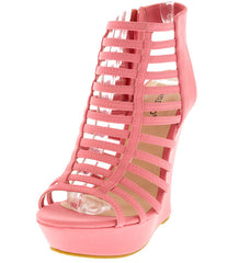 DREAMER43 BUBBLE GUM CAGED PEEP TOE WEDGE - Wholesale Fashion Shoes