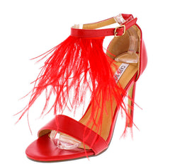 DREW5 RED SINGLE STRAP FEATHER HEEL - Wholesale Fashion Shoes