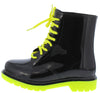 Drizzle02 Neon Yellow Black Two Tone Lace Up Rain Boot - Wholesale Fashion Shoes