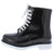 Drizzle02 White Black Two Tone Lace Up Rain Boot