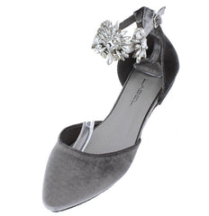 DUFFY4 GREY ALMOND TOE EMBELLISHED ANKLE STRAP FLAT - Wholesale Fashion Shoes