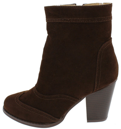 Durian17 Brown Almond Toe Chunky Stacked Heel Ankle Boot - Wholesale Fashion Shoes