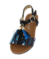 DURIAN17A BLACK BLUE TASSLE T-STRAP INFANT SANDAL - Wholesale Fashion Shoes