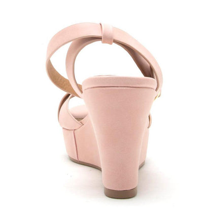 Ebbe19 Blush Nubuck Pu Peep Toe Cross Band Wedge - Wholesale Fashion Shoes