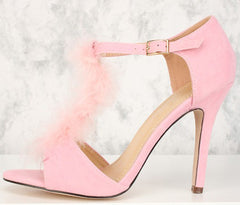 ALYSSA01 PINK OPEN TOE FUZZY T-STRAP STILETTO HEEL - Wholesale Fashion Shoes