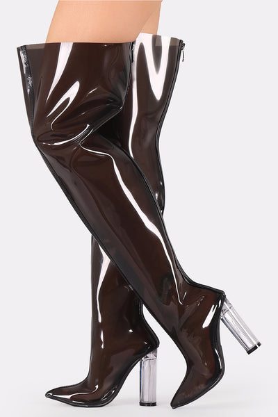 Ella6 Black Patent Lucite Pointed Toe Thigh High Boot - Wholesale Fashion Shoes