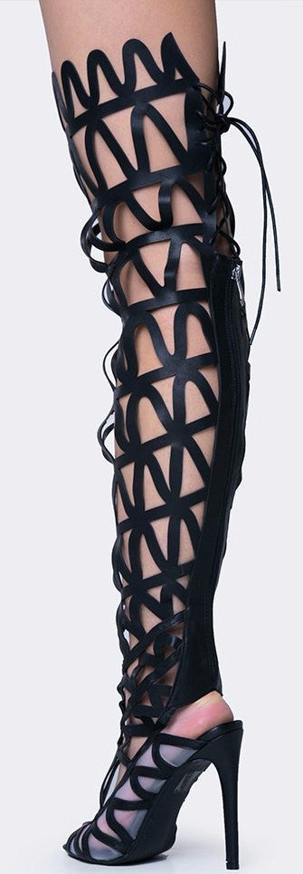 Ellie1 Black Zig Zag Thigh High Lace Up Boot - Wholesale Fashion Shoes