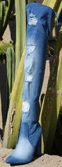 Jagger35 Blue Distressed Frayed Thigh High Boot - Wholesale Fashion Shoes