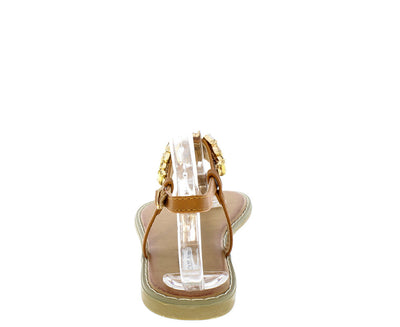 Emily8 Camel Gemstone Thong Sandal - Wholesale Fashion Shoes