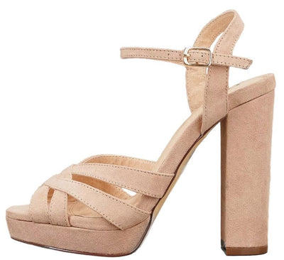 Emoji Camel Suede Strappy Peep Toe Ankle Strap Chunky Platform Heel - Wholesale Fashion Shoes