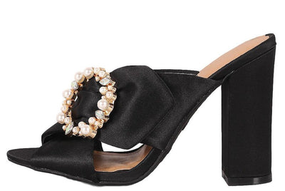 Encounter92s Black Peep Toe Cross Band Ring Detail Mule Heel - Wholesale Fashion Shoes