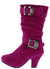 Eq57km Fuchsia Dual Rhinestone Buckle Kids Boot