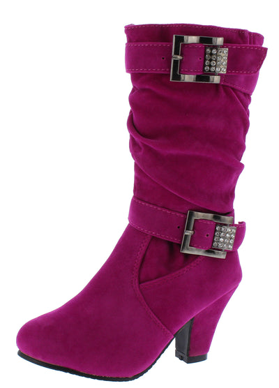 Eq57km Fuchsia Dual Rhinestone Buckle Kids Boot - Wholesale Fashion Shoes