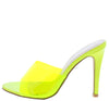 Dakota78 Green Peep Toe Lucite Mule Stiletto Heel - Wholesale Fashion Shoes