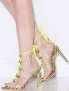 Exception35 Neon Yellow Lucite Cut Out Ghillie Lace Up Stiletto Heel - Wholesale Fashion Shoes