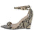 Exclusive02 Beige Snake Open Toe Ankle Strap Wedge