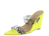 Exclusive04 Neon Yellow Pu Dual Strap Slide Wedge - Wholesale Fashion Shoes