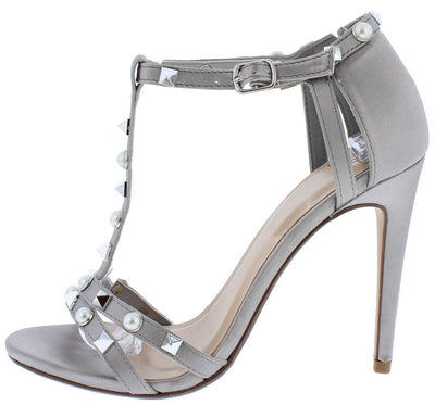 Eachs Pewter Open Toe Metallic Pearl Stud T Strap Heel - Wholesale Fashion Shoes