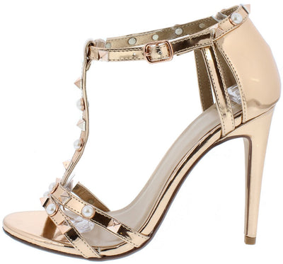 Eachs Rose Gold Open Toe Metallic Pearl Stud T Strap Heel - Wholesale Fashion Shoes