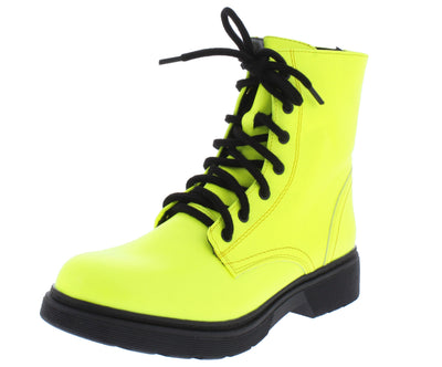 Earie7 Yelllow Lace Up Lug Sole Boot - Wholesale Fashion Shoes