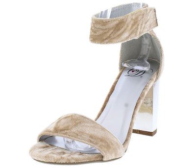 Echos Beige Silver Velvet Open Toe Chrome Metallic Heel - Wholesale Fashion Shoes
