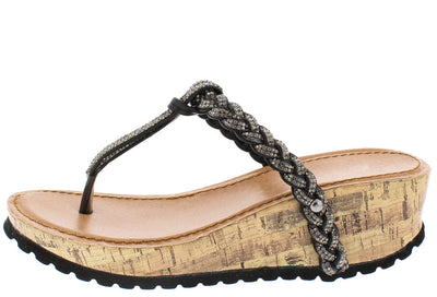 Grace Black Braided Rhinestone Cork Lug Wedge - Wholesale Fashion Shoes